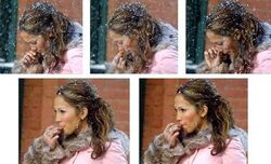 Jennifer Lopez enjoying a fresh-picked booger. Goes straight to her rump!